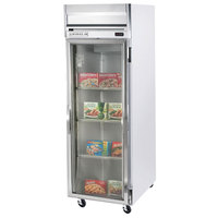 Beverage Air HF1-1G-LED 1 Section Glass Door Reach-In Freezer - 24 cu. ft., Stainless Steel Front, Gray Exterior