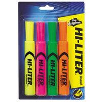 Avery AVE24063 Hi-Liter® Chisel Tip Desk Style Highlighter, Fluorescent Color Assortment - 4/Pack