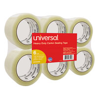Universal UNV63000 2 inch x 55 Yards Clear General Purpose Box Sealing Tape   - 6/Pack