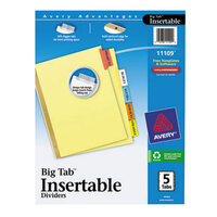Avery AVE11109 Big Tab Buff Paper 5-Tab Multi-Color Insertable Dividers