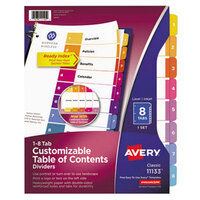 Avery AVE11133 Ready Index 8-Tab Multi-Color Table of Contents Dividers