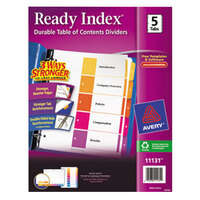 Avery AVE11131 Ready Index 5-Tab Multi-Color Table of Contents Dividers