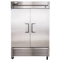 "True TS-49 55"" Stainless Steel Two Section Solid Door Reach-In Refrigerator - 43.5 cu. ft."