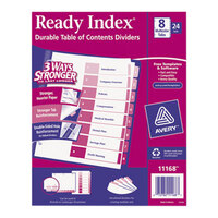 Avery AVE11168 Ready Index 8-Tab Multi-Color Table of Contents Divider Set - 24/Box