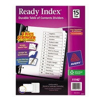 Avery AVE11142 Ready Index 15-Tab White Table of Contents Dividers