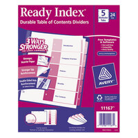 Avery AVE11167 Ready Index 5-Tab Multi-Color Table of Contents Divider Set - 24/Box