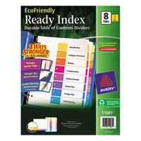 Avery AVE11081 EcoFriendly Ready Index 8-Tab Multi-Color Table of Contents Divider Set - 3/Pack
