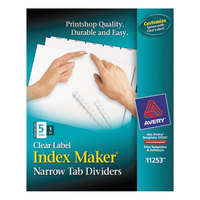 Avery AVE11253 Index Maker Narrow 5-Tab White Unpunched Divider Set with Clear Label Strip