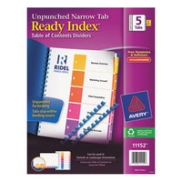 Avery AVE11152 Ready Index Narrow 5-Tab Multi-Color Unpunched Table of Contents Divider Set - 5/Pack