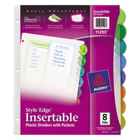 Avery AVE11293 Style Edge Translucent Plastic 8-Tab Multi-Color Insertable Dividers with Pockets