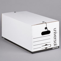 Universal UNV75120 24 inch x 12 inch x 10 inch White Economy Fiberboard Storage Box with Tie Closure - 12/Case