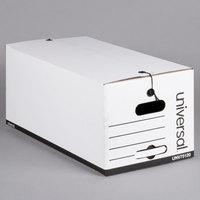 Universal UNV75120 24 inch x 12 inch x 10 inch White Economy Fiberboard Storage Box with Tie Closure