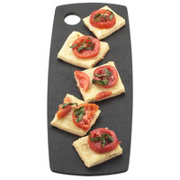 Cal-Mil 1531-612-13 Black Wooden Round Edge Rectangular Flat Bread Serving Board - 12 inch x 6 inch x 1/4 inch