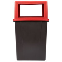 Carlisle 56 Gallon Brown Square Waste Container with Red Open-Sided Lid