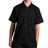 Chef Revival CS006BK-S Size 36-38 (S) Black Customizable Short Sleeve Cook Shirt - Poly-Cotton Blend