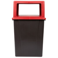 Carlisle 56 Gallon Brown Square Waste Container with Red Hinged Door Lid