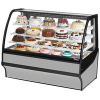 True TDM-R-59-GE/GE 59 inch Stainless Steel Curved Glass Refrigerated Bakery Display Case