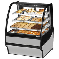 True TDM-DC-36-GE/GE 36 inch Stainless Steel Curved Glass Dry Bakery Display Case
