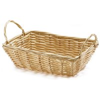 Tablecraft 1185W Rectangular Woven Basket with Handles 8 1/2 inch x 5 inch x 2 1/2 inch - 12 / Pack