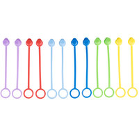 Tablecraft C100TA Assorted Squeeze Bottle Tethered Caps - 12/Pack