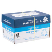 Hammermill HAM86702 Great White 8 1/2 inch x 11 inch White Ream of 3-Hole Punched 20# Recycled Copy Paper - 10/Case