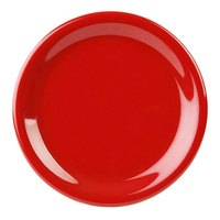 10 1/2 inch Pure Red Narrow Rim Melamine Plate 12 / Pack