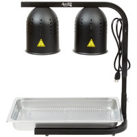 Avantco Black 2 Bulb Free Standing Heat Lamp / Food Warmer with Pan and Grate - 120V, 500W