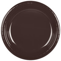 Creative Converting 28303831 10 inch Chocolate Brown Plastic Banquet Plate - 20 / Pack