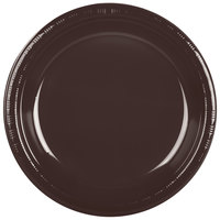 Creative Converting 28303831 10 inch Chocolate Brown Plastic Plate - 20/Pack