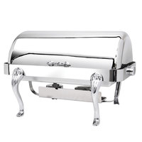 Eastern Tabletop 3114QA-SS Queen Anne 8 Qt. Rectangular Stainless Steel Roll Top Induction Chafer