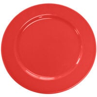 CAC CDE-16RED Festiware Wide Rim Dinner Plate with Cord Edge 10 5/8 inch - Red - 12 / Case