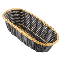 Choice 9 inch x 4 1/2 inch x 1 3/4 inch Oblong Black and Gold Rattan Cracker Basket - 12 / Case