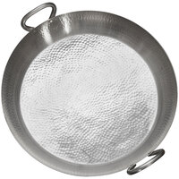American Metalcraft GP21 21 3/4 inch Hammered Stainless Steel Paella Pan