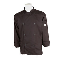 Mercer M61010BK4X Genesis Unisex 60 inch 4X Black Double Breasted Traditional Neck Long Sleeve Chef Jacket with Traditional Buttons