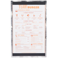 8 1/2 inch x 14 inch Menu Solutions ALSIN814-ST Single Panel Swirl Finish Aluminum Menu Board with Top and Bottom Strips