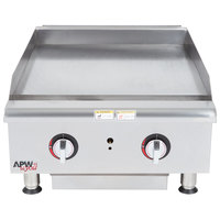 APW Wyott HTG-2424 24 inch Heavy Duty Countertop Griddle with Thermostatic Controls - 66,000 BTU
