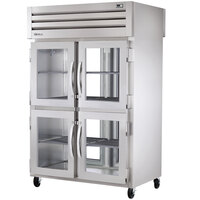 True STA2RPT-2HG/2HS-2G Specification Series Pass-Through Refrigerator with Two Top Glass Half Doors, Two Bottom Solid Half Doors, and Two Rear Glass Doors - 56 Cu. Ft.