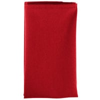 20 inch x 20 inch Red Hemmed Polyspun Cloth Napkin - 12/Pack