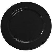 CAC CDE-16BLK Festiware Wide Rim Dinner Plate with Cord Edge 10 5/8 inch - Black - 12 / Case