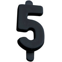 1 inch Black Molded Plastic Number 5 Deli Tag Insert - 50/Set