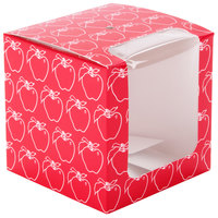 Red 4 inch x 4 inch x 4 inch Candy Apple Box with Window and Apple Design - 250 / Case
