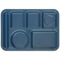 Carlisle 4398035 10 inch x 14 inch Cafe Blue Heavy Weight Melamine Left Hand 6 Compartment Tray
