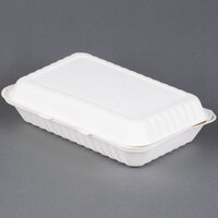 Green Wave TW-BOO-018 9 inch x 12 inch x 3 inch Microwavable Biodegradable Take Out Container 150/Case