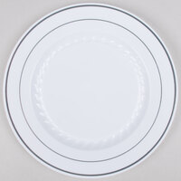 Fineline Silver Splendor 509-WH 9 inch White Plastic Plate with Silver Bands - 12 / Pack