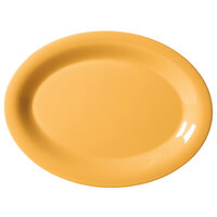 GET OP-950-TY Diamond Mardi Gras 9 3/4 inch x 7 1/4 inch Tropical Yellow Oval Melamine Platter - 24 / Case