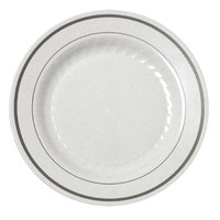Fineline Silver Splendor 510WH White 10 inch Plastic Plate with Silver Bands - 12 / Pack