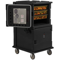 Cambro UPCH16002110 Black Ultra Camcart Two Compartment Heated Holding Pan Carrier with Casters, Both Compartments Heated - 220V (International Use Only)