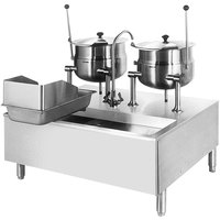 Cleveland SD-1600-K1212 (2) 12 Gallon Tilting 2/3 Steam Jacketed Direct Steam Kettles with Modular Stand