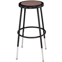 National Public Seating 6224H Black 25 inch - 33 inch Adjustable Hardboard Round Lab Stool
