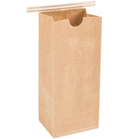 1/2 lb. Brown Customizable Paper Coffee Bag Tin Tie Recloseable 100 / Pack